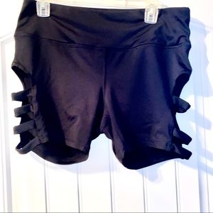 Cut out Black Bike Shorts